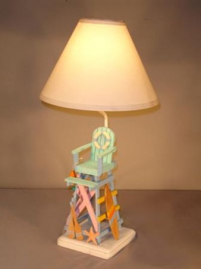Beach Color Lifeguard Chair Electric Lamp 25