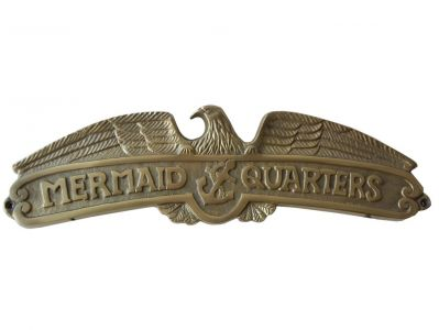 Antique Solid Brass Mermaids Quarters Sign 16