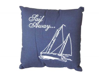Embroidered Sail Away Decorative Throw Pillow 10""