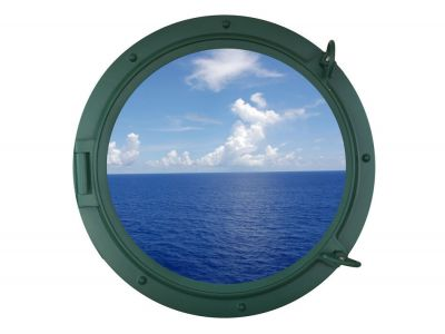 Seaworn Green Porthole Window 24