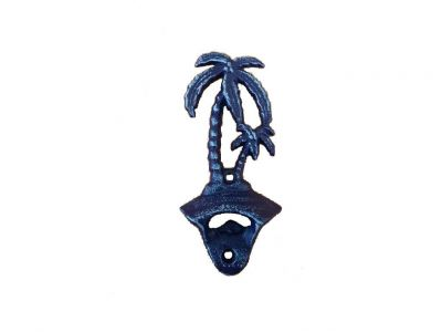 Rustic Dark Blue Cast Iron Wall Mounted Palm Tree Bottle Opener 6\