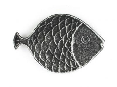 Antique Silver Cast Iron Fish Decorative Plate 8""