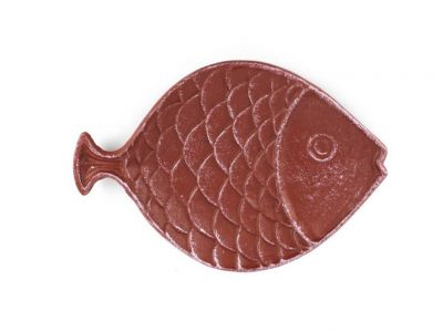 Red Whitewashed Cast Iron Fish Decorative Plate 8\