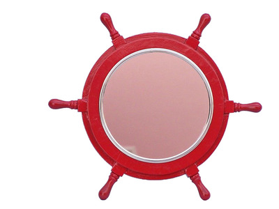 Deluxe Class Red Wood and Chrome Ship Wheel Mirror 16