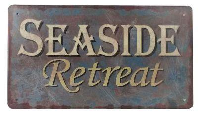 Rustic Tin Seaside Retreat Beach Sign 10