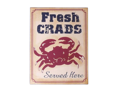 Metal Fresh Crabs Sign 13""