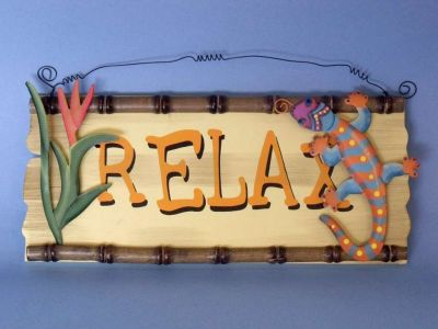 Wood and Tin Relax Welcome Sign 14