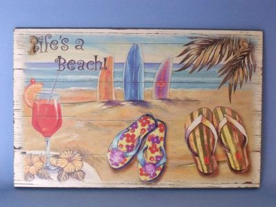 Wooden Sandal Lifes a Beach Sign 10