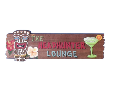 Wooden The Headhunter Lounge Sign 20