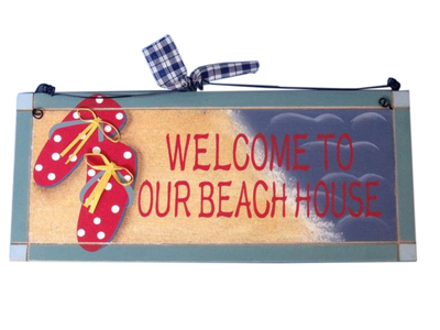 Wooden Welcome To Our Beach House Sign 12