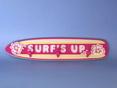 Wooden Pink Surfs Up Sign 17