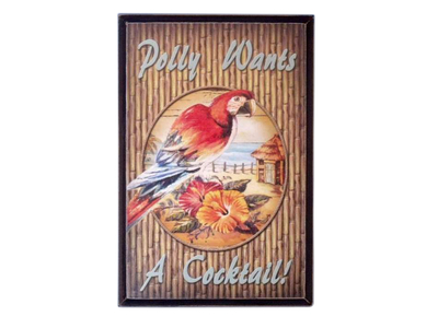 Wooden Red Parrot Sign 12