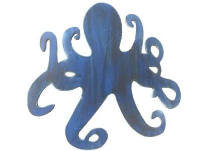 Wooden Rustic Dark Blue Octopus Wall Mounted Decoration 25""