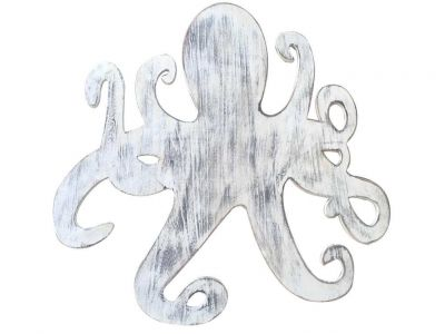 Wooden Whitewashed Octopus Wall Mounted Decoration 25""
