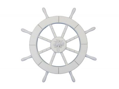 White Ship Wheel with Palm Tree 18