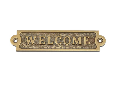 Antique Brass Welcome Sign 6