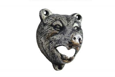 Rustic Silver Cast Iron Bear Bottle Opener 4\