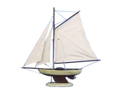 Wooden Rustic Bermuda Sloop Model Sailboat Decoration 17\