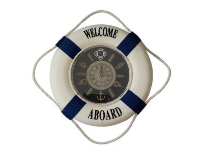 Blue Welcome Aboard Lifering with Blue Bands Clock 15\