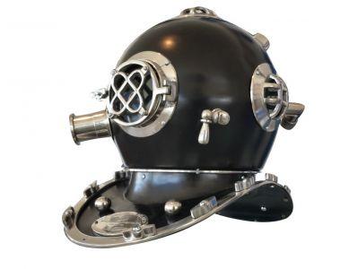 Solid Chrome Mark V Black Divers Helmet 17