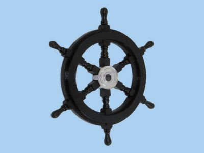 Wood and Chrome Black Pirate Ship Wheel 18