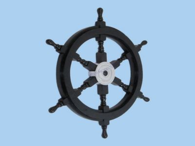 Wood and Chrome Black Pirate Ship Wheel 24