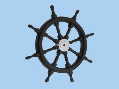 Wood and Chrome Black Pirate Ship Wheel 36