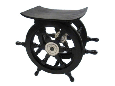 Wood and Chrome Black Pirate Ship Wheel Table 18