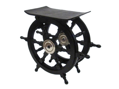 Wood and Chrome Black Pirate Ship Wheel Table 24