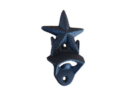 Rustic Black Cast Iron Wall Mounted Starfish Bottle Opener 6\