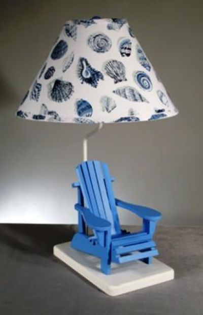 Blue Beach Chair Electric Lamp w-Shell Shade 29