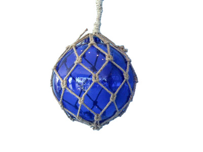 Glass and Rope Blue Fishing Float 8
