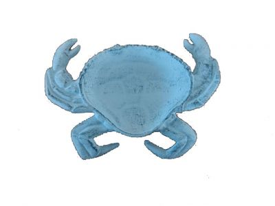 Rustic Dark Blue Whitewashed Cast Iron Crab Decorative Bowl 7""