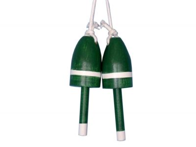 Set of 2 - Wooden Dark Green Maine Lobster Trap Buoy 7