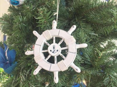 Rustic White Decorative Ship Wheel With Anchor Christmas Tree Ornament 6""
