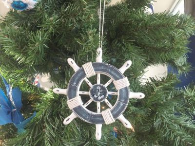 Rustic Dark Blue and White Decorative Ship Wheel With Anchor Christmas Tree Ornament 6""