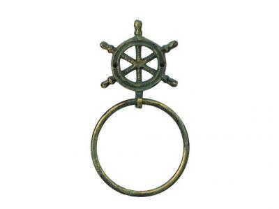 Antique Bronze Cast Iron Ship Wheel Towel Holder 8.5\