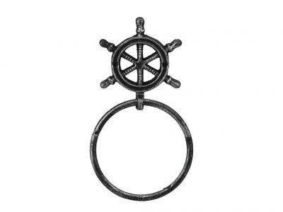 Antique Silver Cast Iron Ship Wheel Towel Holder 8.5\