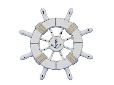 Rustic White Decorative Ship Wheel With Anchor 6\