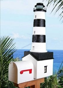 Bodie Island Solar Powered Stucco Lighthouse Mailbox 36