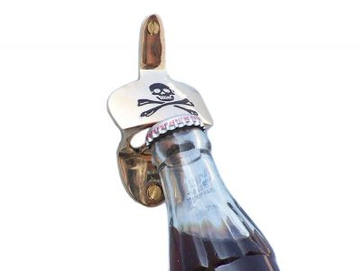 Solid Brass Pirate Skull and Crossbones Wall Mounted Bottle Opener 3.5