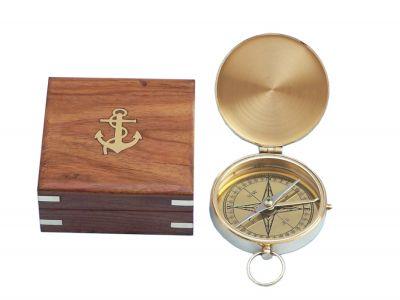 Solid Brass Gentlemen\'s Compass w/ Rosewood Box 4\