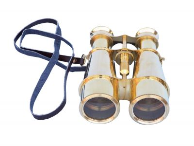Captain\'s Solid Brass Binoculars with Leather Case 6\