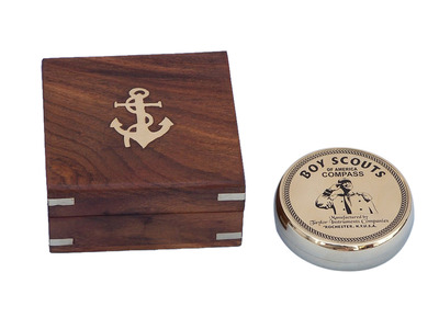 Solid Brass Boy Scout Compass with Rosewood Box 3