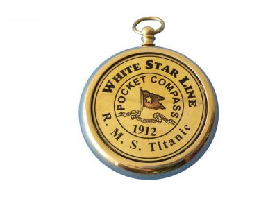 Solid Brass RMS Titanic White Star Pocket Compass 3