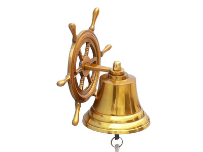 Brass Plated Hanging Ship Wheel Bell 7\