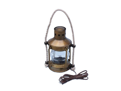 Antique Brass Round Anchor Electric Lantern 16
