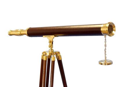 Floor Standing Solid Brass - Leather Harbor Master Telescope 60