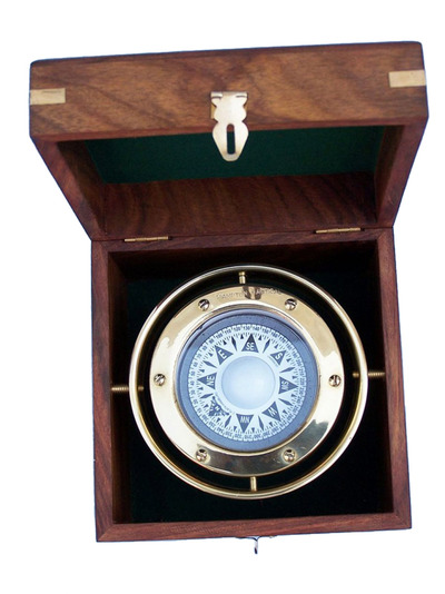 Solid Brass Gimbal Compass w- Rosewood Box 4.5
