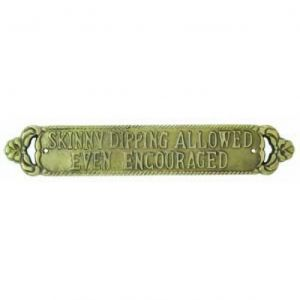 Solid Brass Skinny Dipping Sign 15